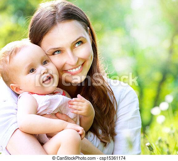 mãe, bebê, outdoors., natureza, bonito - csp15361174