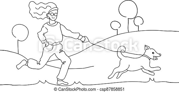 mão, cão, illustration., desenho, branca, pretas, passeio - csp87858851