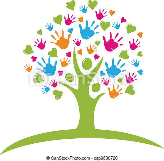 mãos, corações, árvore, figuras - csp9830720