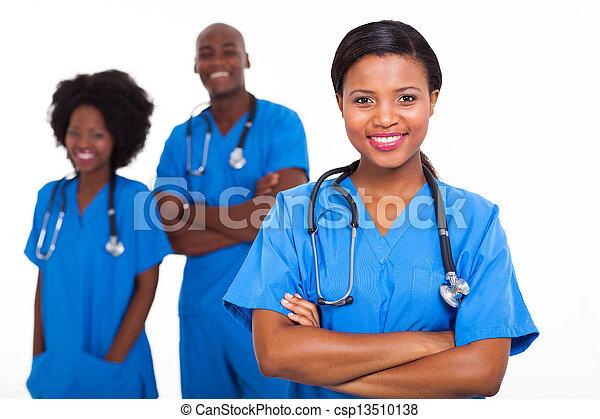 médico, trabalhadores, americano, africano, jovem - csp13510138