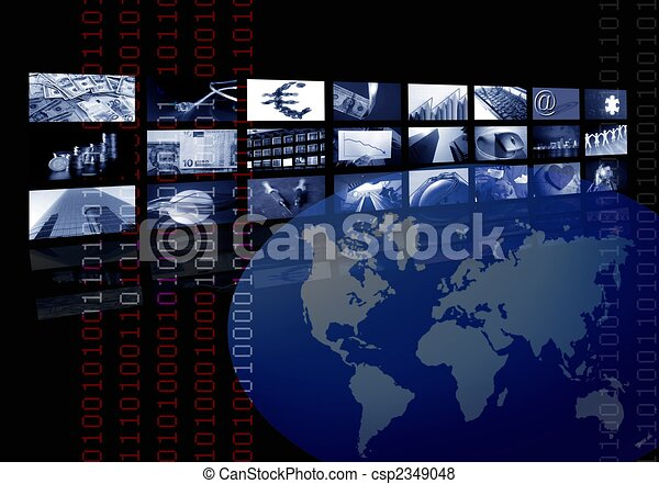 múltiplo, negócio, tela, mapa, incorporado, mundo - csp2349048