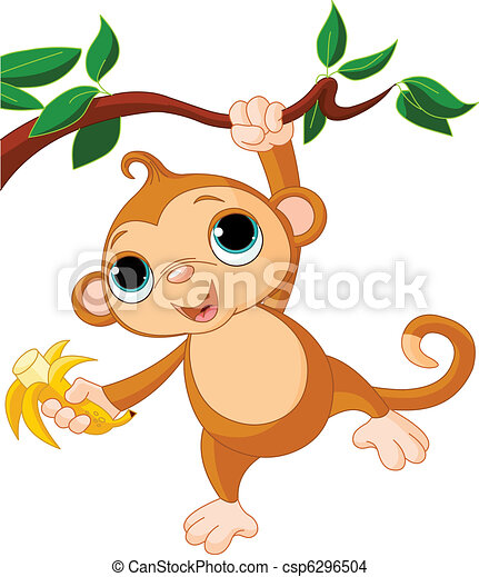 macaco, bebê, árvore - csp6296504
