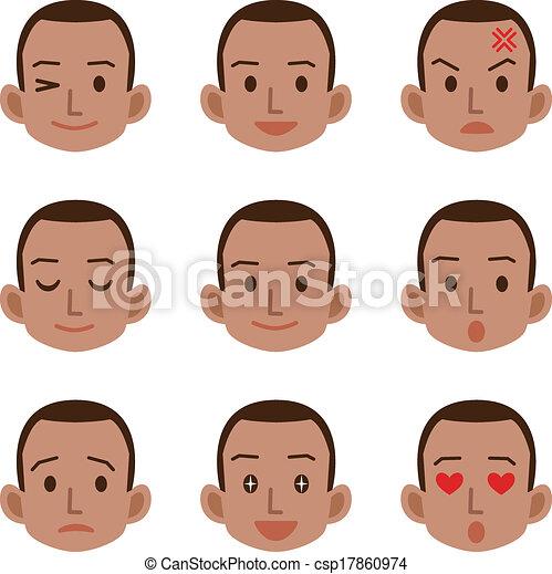 macho, expressão, facial - csp17860974