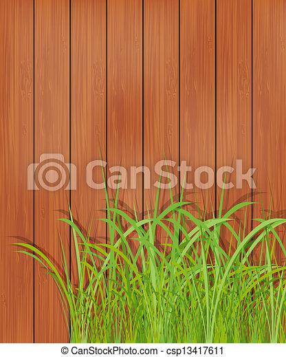 madeira, capim, verde, cerca - csp13417611