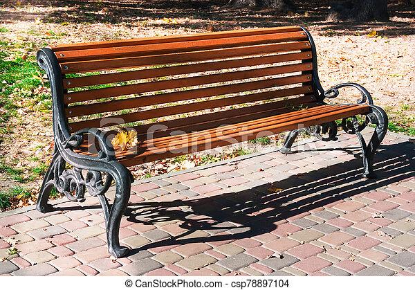 madeira, só, banco, park. - csp78897104