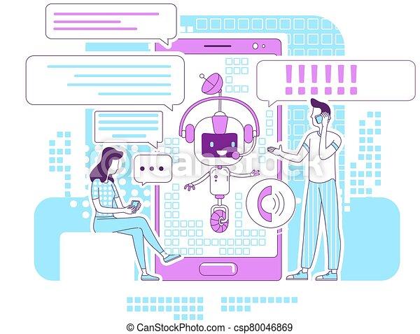 magra, teia, caráteres, falando, illustration., 2d, social, bot, caricatura, idéia, app, application., conceito, chatbot, redes, linha, apoio, criativo, design., vetorial, comunicação, pessoas, serviço, online - csp80046869