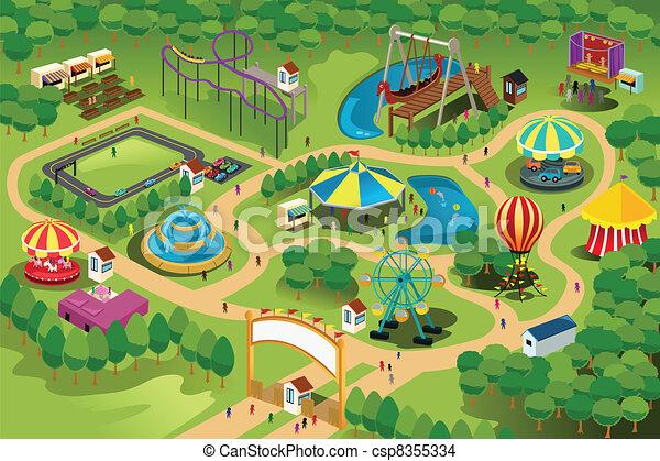 mapa, parque, divertimento - csp8355334