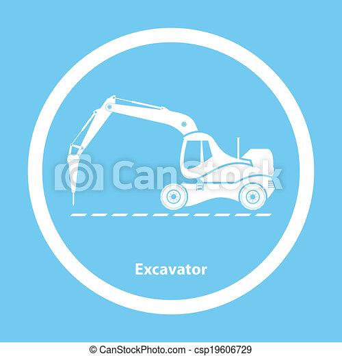 martelo, escavador, hidráulico - csp19606729