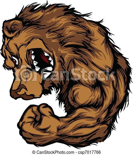 mascote, flexionar, caricatura, urso, braço - csp7017766