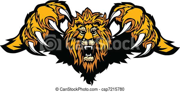 mascote, gráfico, vetorial, leão, pouncing - csp7215780