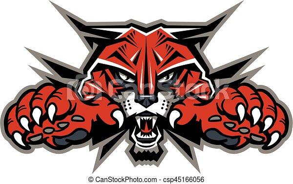 mascote, wildcat, cabeça - csp45166056