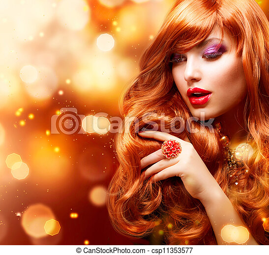 menina, cabelos formam, portrait., ondulado, dourado, vermelho - csp11353577