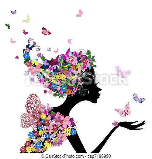 menina, flores, borboletas - csp7198930