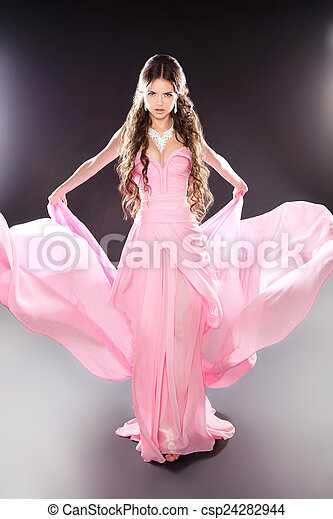 menina, posar, moda, beleza, soprando, modelo, transparente, chiffon - csp24282944