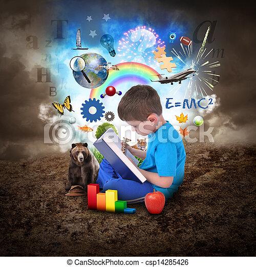 menino, livro, educação, leitura, objetos - csp14285426