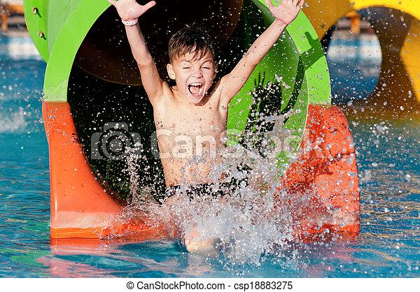 menino, parque, aqua - csp18883275