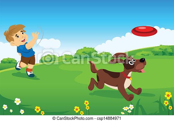 menino, seu, cão, tocando - csp14884971
