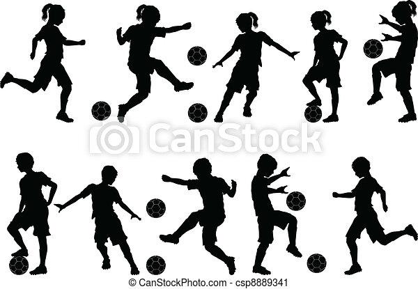 meninos, silhuetas, futebol, meninas, crianças - csp8889341