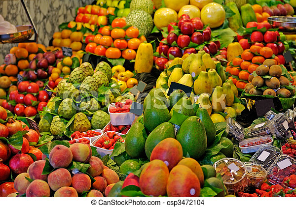 mercado, la, boqueria, barcelona, foco., famosos, seletivo, mundo, spain., fruits. - csp3472104