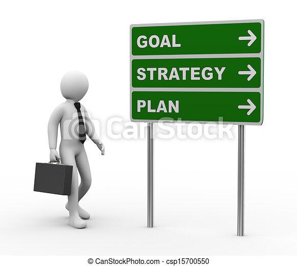 meta, estratégia, roadsign, plano, homem negócios, 3d - csp15700550