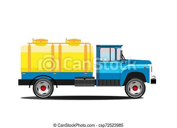 milk., tanque, illustration., car, entrega, vetorial, retro, truck. - csp72523985