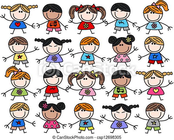 misturado, crianças, crianças, étnico, feliz - csp12698305