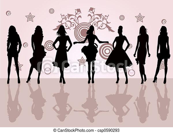 moda, meninas - csp0590293