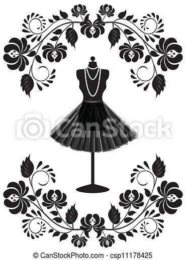 moda, quadro, colar, mannequin, floral, saia, cartão - csp11178425