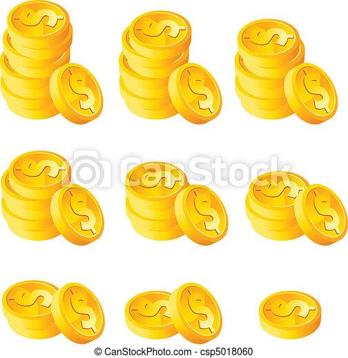moedas, pilha, ouro - csp5018060