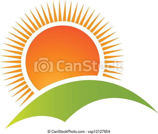 montanha, sol, logotipo, vetorial, colina - csp12127654