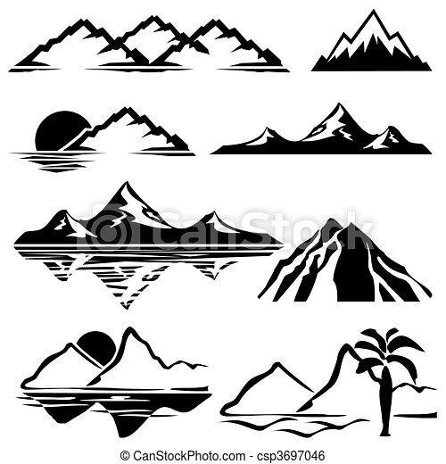 montanhas, ícones - csp3697046