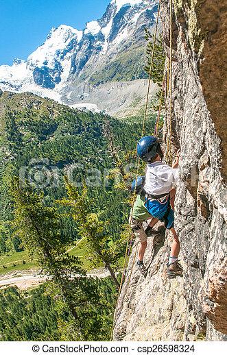 montanhas altas, crianças, escalando - csp26598324