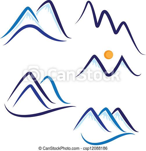 montanhas, neve, jogo, logotipo, stylized - csp12088186
