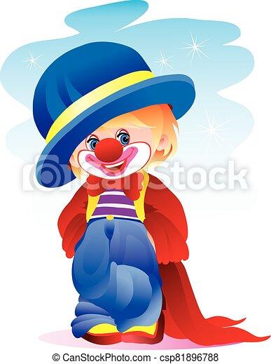 mudança, isolado, menino chapéu, traje, branca, narigudo, agasalho, longo, palhaço, fundo, objeto, ilustração, vermelho, azul, vontade, vetorial - csp81896788