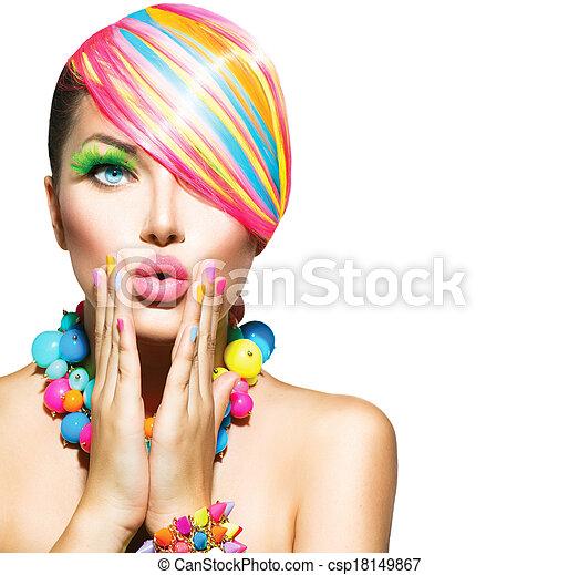 mulher, beleza, coloridos, pregos, maquilagem, acessórios, cabelo - csp18149867