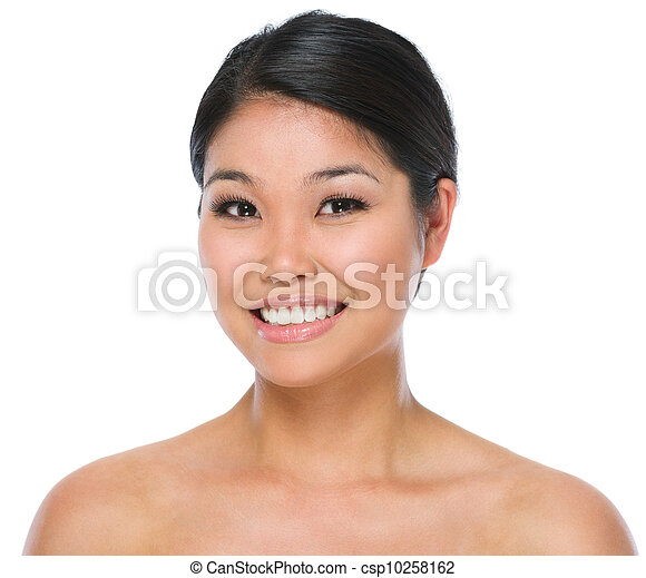 mulher, beleza, isolado, morena, asiático, retrato, sorrindo, branca - csp10258162
