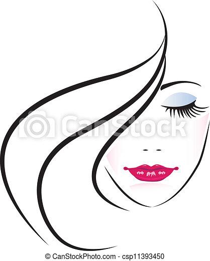 mulher, bonito, rosto, silueta - csp11393450