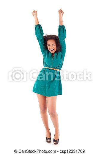 mulher feliz, celebrando, africano - csp12331709