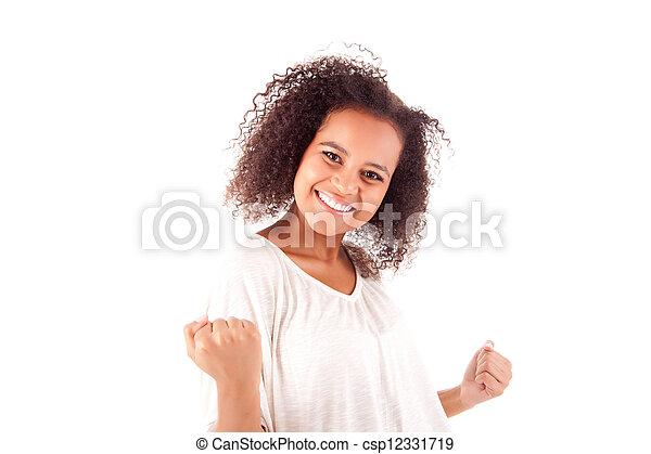 mulher feliz, celebrando, africano - csp12331719