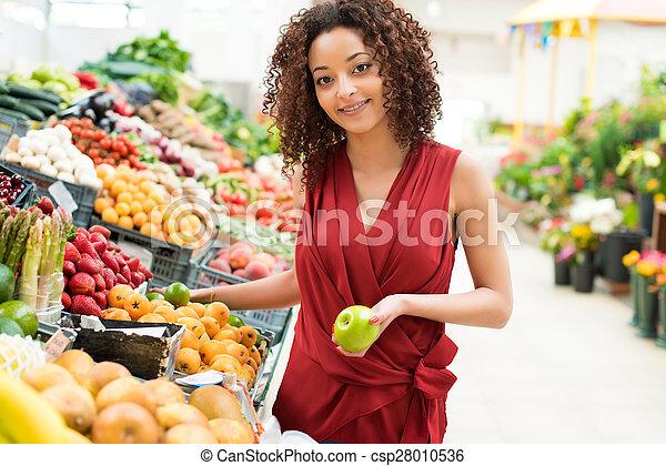 mulher, frutas, shopping - csp28010536
