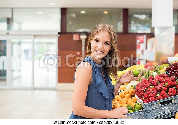 mulher, frutas, shopping - csp28913632