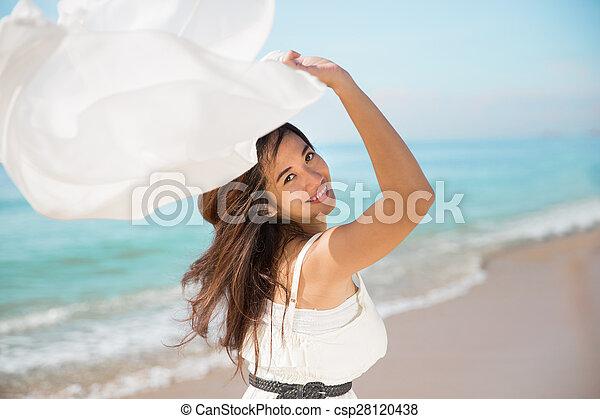 mulher, grávida, natureza, braços, asiático, desfrutando, abertos - csp28120438
