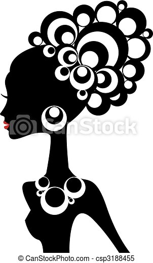 mulher preta, vetorial - csp3188455