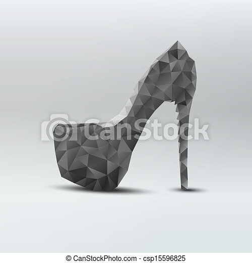 mulher, sapatos, abstratos, alto, pretas, calcanhares - csp15596825