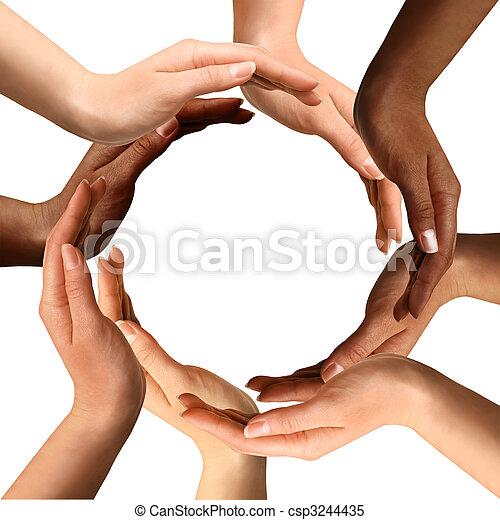 multiracial, fazer, círculo, mãos - csp3244435