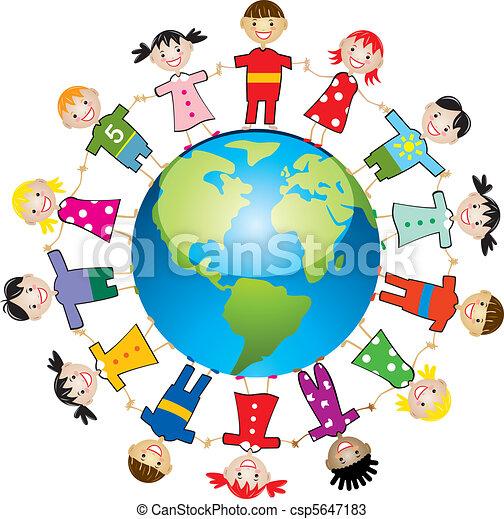 mundo, crianças, ao redor - csp5647183
