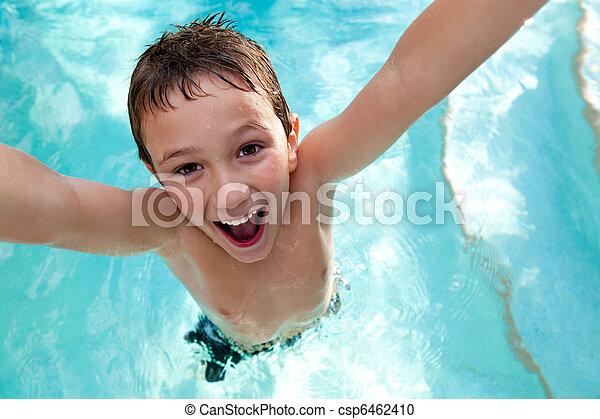 natação, alegre, piscina, criança - csp6462410