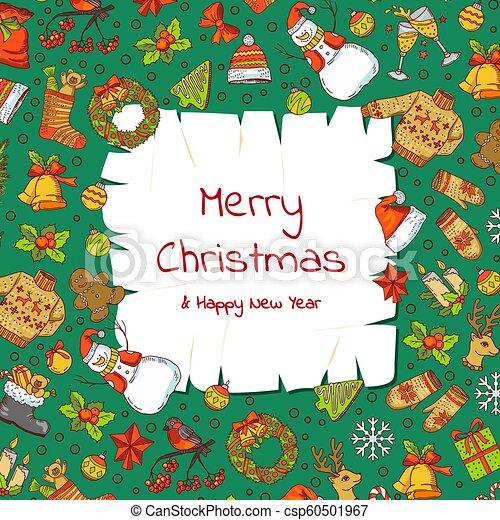 natal, elementos, antigas, colorido, texto, presentes xmas, árvore, vetorial, lugar, papel, fundo, santa, desenhado, mão, pergaminho - csp60501967