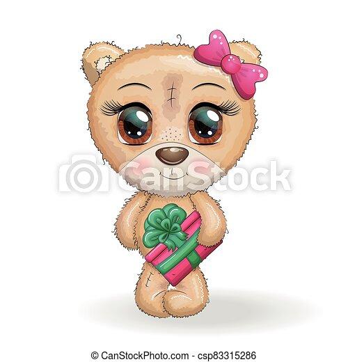 natal, fundo, olhos, cute, patas, presente, caricatura, branca, grande, seu, urso, designs. - csp83315286
