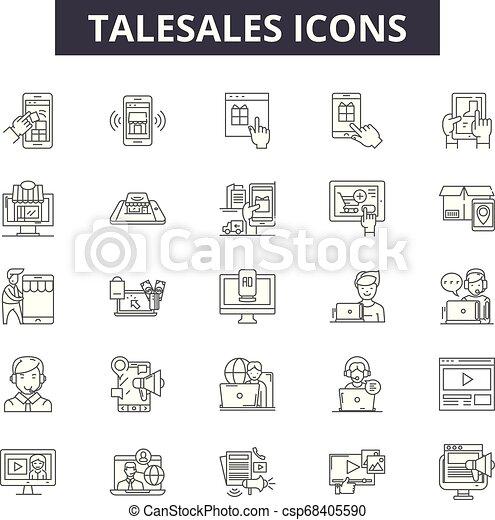 negócio, illustration:, linha, venda, telesales, jogo, telefone, esboço, conceito, comunicação, apoio, vector., telesales, serviço, marketing, sinais, ícones - csp68405590